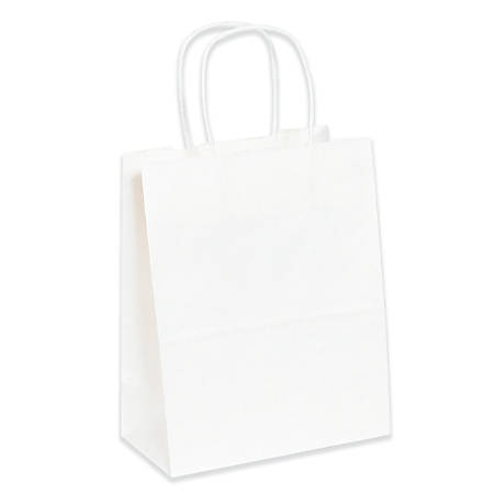 """Partners Brand Paper Shopping Bags, 5 1/4""""W x 3 1/4""""D x 13""""H, White, Case Of 250"""