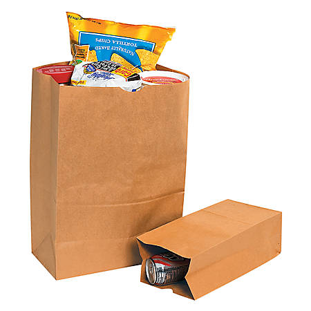 "Partners Brand Grocery Bags, 13 3/8""H x 6 5/16""W x 4 1/8""D, Kraft, Case Of 500"