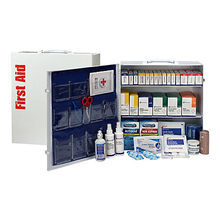 First Aid Only 3-Shelf First Aid Station With Medications, White, 676 Pieces