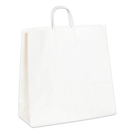 "Partners Brand Paper Shopping Bags, 16""W x 6""D x 15 3/4""H, White, Case Of 200"