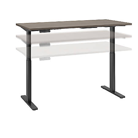 "Bush Business Furniture Move 60 Series 60""W x 30""D Height Adjustable Standing Desk, Cocoa/Black Base, Premium Installation"