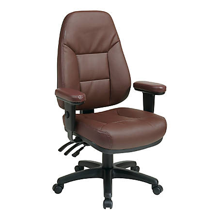 """Office Star™ Dual-Function High-Back Leather Chair, 49""""H x 27 1/4""""W x 27 1/2""""D, Black Frame, Burgundy Leather"""