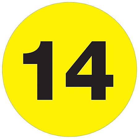 """Tape Logic® Permanent Inventory Labels, DL1355, Number 14, Round, 3"""", Fluorescent Yellow, Roll Of 500"""