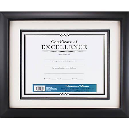 """Quebec Fillet Premium Wood Frame, 11"""" x 14"""", Matted For 8-1/2"""" x 11"""", Black"""