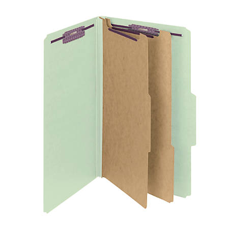 Smead® Pressboard Classification Folder With SafeSHIELD Fastener, 2 Dividers, Legal Size, 60% Recycled, Gray/Green