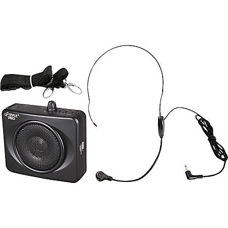 PylePro 50 Watts Portable, USB Waist-Band Portable Pa System With A Headset Microphone with Built In Rechargeable Batteries (Color Black) - 50 W Amplifier - Built-in Amplifier - 1 Audio Line In - USB Port - Battery Rechargeable - 12 Hour - Black