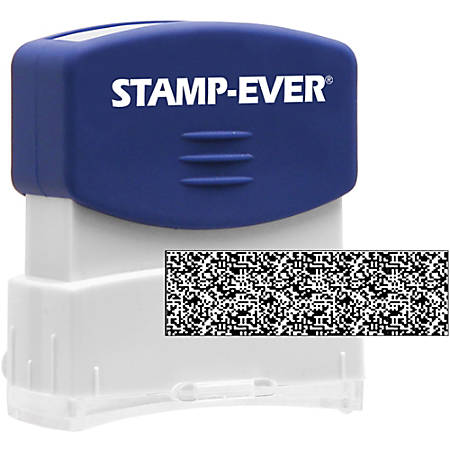 "Stamp-Ever Pre-inked Security Block Stamp - 1.69"" Impression Width x 0.56"" Impression Length - 50000 Impression(s) - Blue - 1 Each"