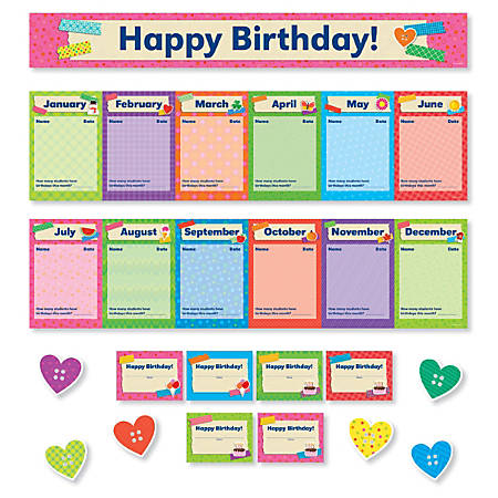 Scholastic Teacher's Friend Tape It Up! Birthdays Mini Bulletin Board Set, Pre-K To Grade 6