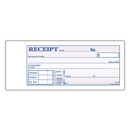 "Adams® Money/Rent Receipt Books, 7 3/16"" x 2 3/4"", 2-Part, Carbon, 50 Set Book"