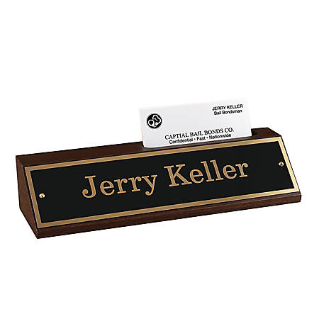 Name counter sign walnut base with engraved nameplatebusiness card name counter sign walnut base with colourmoves