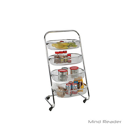 Mind Reader 4-Tier Stainless-Steel Rolling Basket Rack, Silver