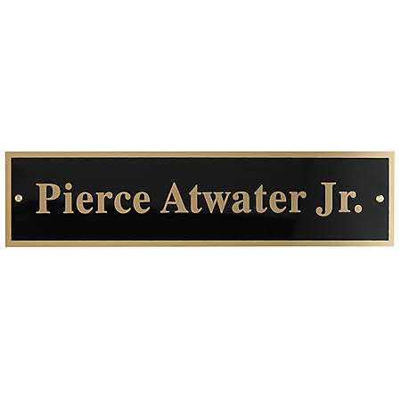 """Custom Engraved Black And Gold Metal Desk Sign Replacement For Walnut Desk Bar, 1-3/4"""" x 7-7/8"""""""