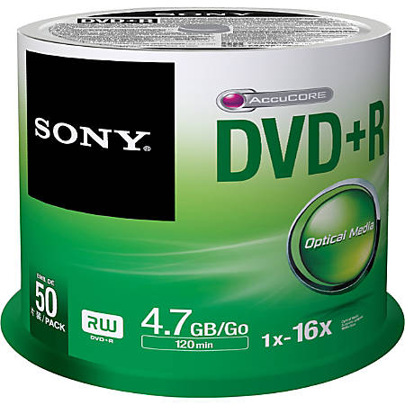 Sony DVD Recordable Media - DVD+R - 16x - 4.70 GB - 50 Pack Spindle