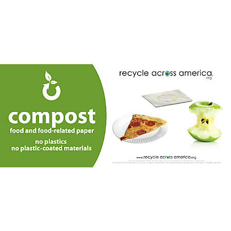 "Recycle Across America Compost Standardized Labels, COMP-0409, 4"" x 9"", Green"