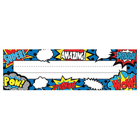 """Teacher Created Resources Flat Name Plates, 3 1/2"""" x 11 1/2"""", Superhero, 36 Plates Per Pack, Case Of 5 Packs"""