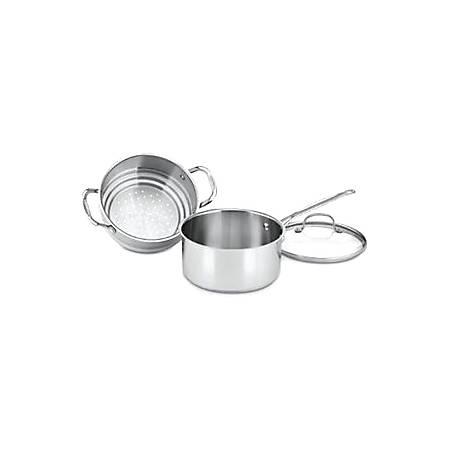 Cuisinart 3 Qt. Steamer Set (3-Pc.) - 3 quart Saucepan, Steamer Insert, Lid - Glass Lid, Aluminum, Stainless Steel, Cast Stainless Steel Handle - Dishwasher Safe - Oven Safe