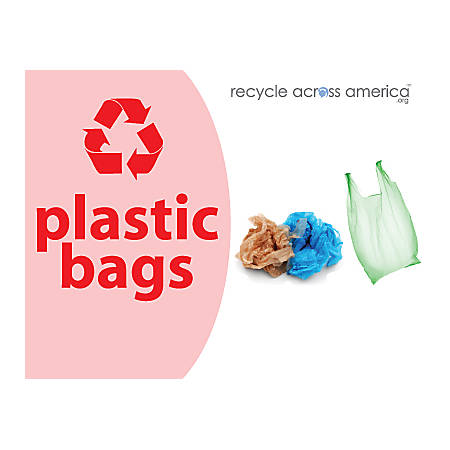 """Recycle Across America Plastic Bags Standardized Recycling Labels, PBAG-8511, 8 1/2"""" x 11"""", Pink"""