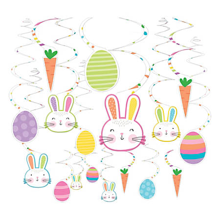 """Amscan Easter Hello Bunny Swirl Decorations, 5"""", 30 Decorations Per Pack, Set of 2 Packs"""