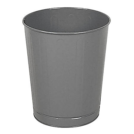 Rubbermaid® Commercial Round Steel Fire-Safe Wastebasket, 6.5 Gallons, Gray
