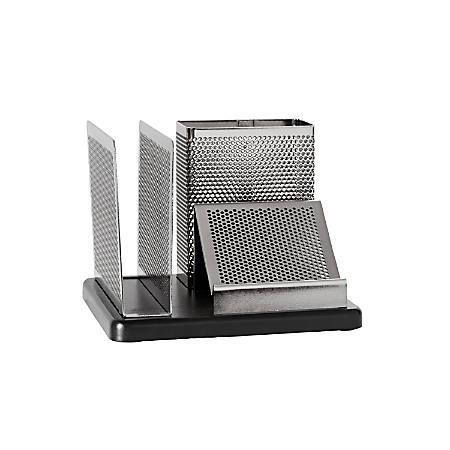 Rolodex® Distinctions™ Punched Metal And Wood Desk Organizer, Black/Pewter