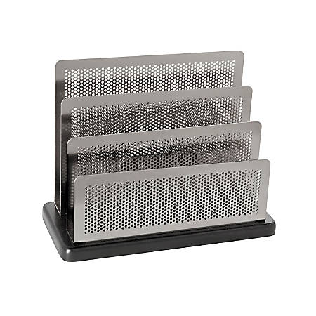 Rolodex® Distinctions™ Punched Metal And Wood Sorter, Black/Pewter