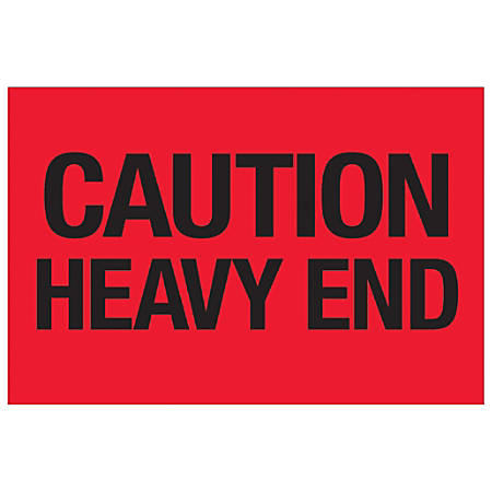 "Tape Logic® Preprinted Shipping Labels, DL1073, Caution Heavy End, Rectangle, 2"" x 3"", Fluorescent Red, Roll Of 500"