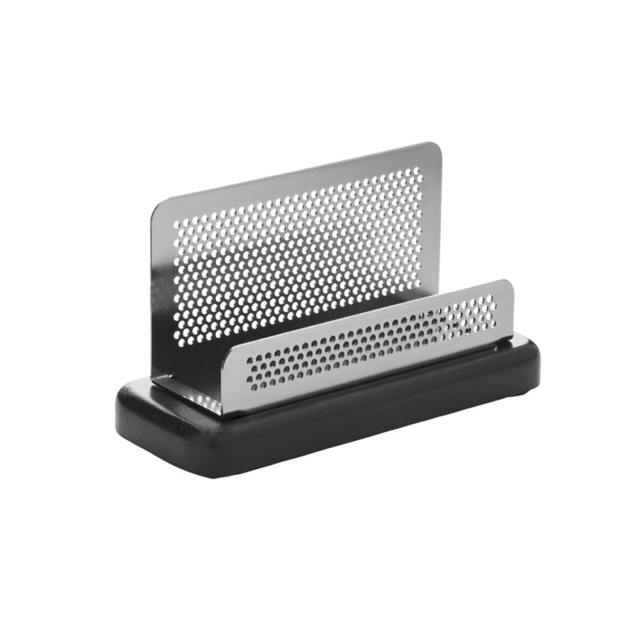 Rolodex Distinctions Punched Metal And Wood Business Card Holder