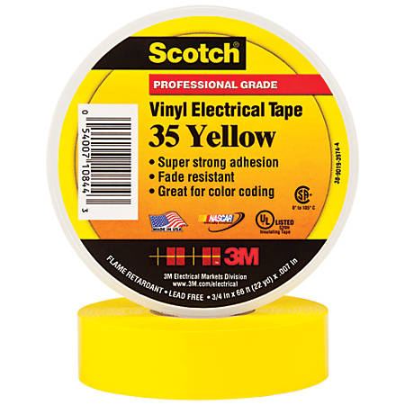 "3M™ 35 Color-Coded Vinyl Electrical Tape, 1.5"" Core, 0.75"" x 66', Yellow, Pack Of 10"
