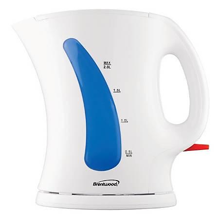 Brentwood 2.0 Liter Cordless Plastic Tea Kettle, White, KT-1620
