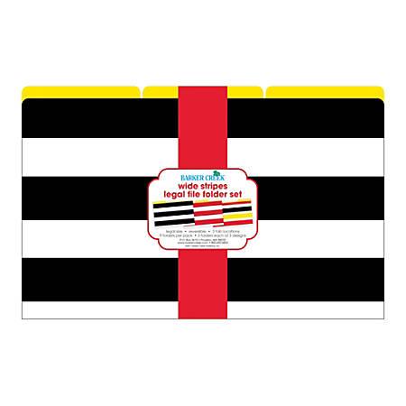Barker Creek File Folders, Legal Size, Wide Stripes, Pack Of 9