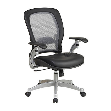 "Office Star™ Professional AirGrid High-Back Leather Chair, 44""H x 27 1/2""W x 27""D, Black/Platinum"