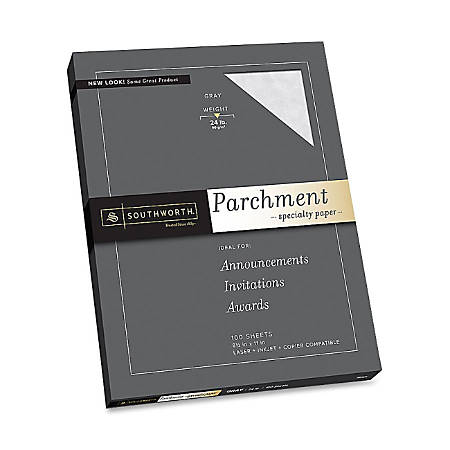 "Southworth P974CK/3/36 Parchment Paper - Letter - 8 1/2"" x 11"" - 24 lb Basis Weight - Parchment - 100 / Pack - Gray"