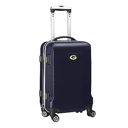 "Denco 2-In-1 Hard Case Rolling Carry-On Luggage, 21""H x 13""W x 9""D, Green Bay Packers, Navy"