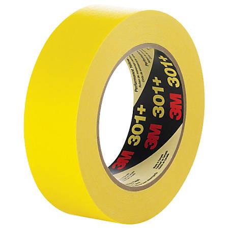"3M™ 301+ Masking Tape, 3"" Core, 0.5"" x 180', Yellow, Case Of 72"