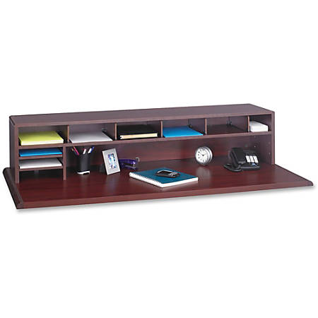 """Safco® 80% Recycled Low-Profile Desktop Organizer, 12""""H x 57 1/2""""W x 12""""D, Mahogany"""