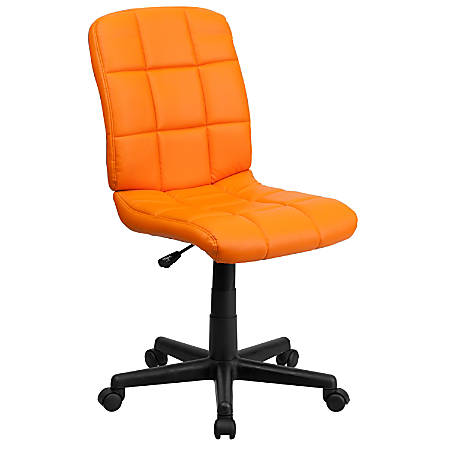 Flash Furniture Quilted Vinyl Mid-Back Swivel Task Chair, Orange/Black
