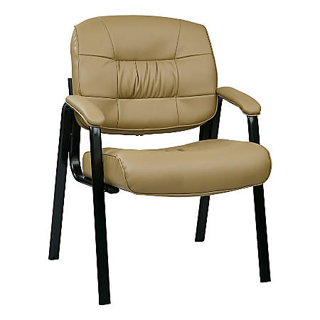 Office Star™ Work Smart ECO Leather Visitor's Chair, Tan/Black