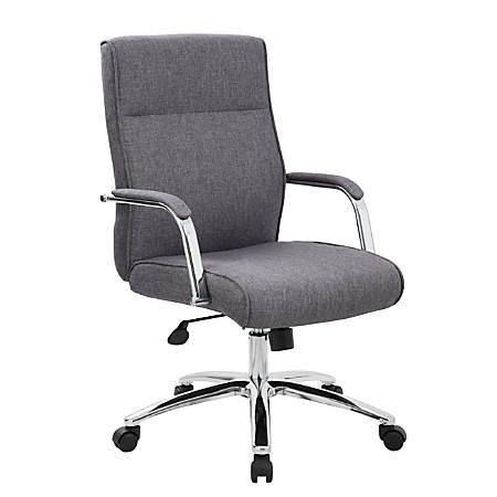 Boss Modern Conference High-Back Chair, Fabric, Slate Gray/Chrome/Gray