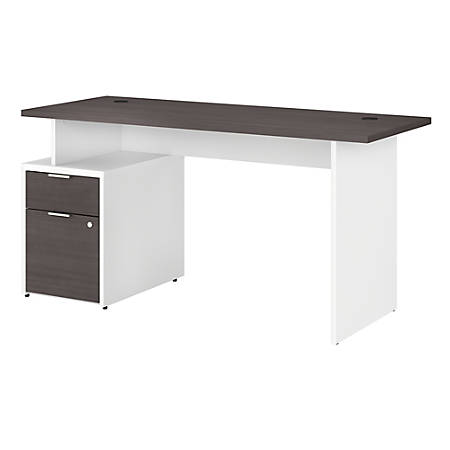 "Bush Business Furniture Jamestown Desk With 2 Drawers, 60""W, Storm Gray/White, Premium Installation"