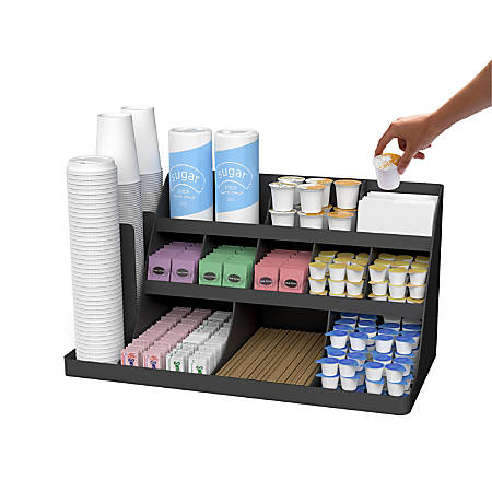 "Mind Reader Extra-Large Coffee Condiment And Accessory Organizer, 12 1/2""H x 24""W x 11 7/8""D, Black"