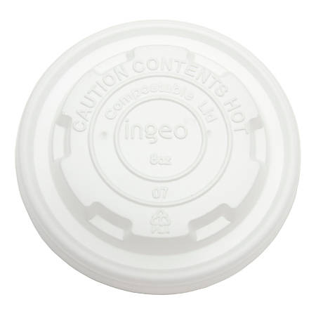 StalkMarket Planet Compostable Food Container Lids, 8 Oz, White, Pack Of 1000 Lids
