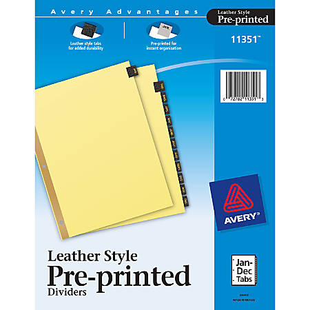 Avery® 30% Recycled Black Leather Tab Dividers, Jan.-Dec.
