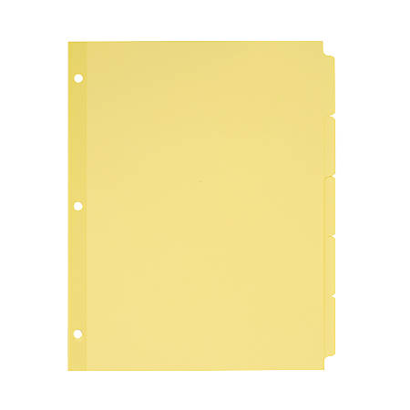 """Avery® Plain Tab Write-On Dividers, 8 1/2"""" x 11"""", 30% Recycled, Buff, 5-Tab, Case Of 36"""