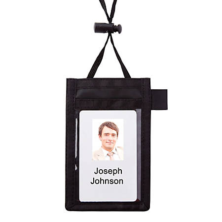 "Office Depot® Brand Neck Pouch Name Badge, Vertical, 2 1/4"" x 3 1/2"""