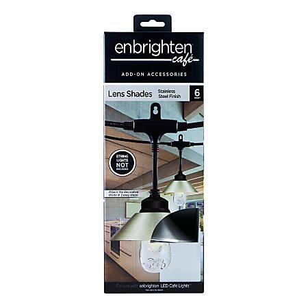 Enbrighten Café Light Shades, Silver, Pack Of 6 Shades