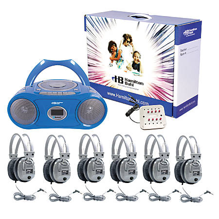 "Hamilton Electronics Basic Cassette/CD 6-Station Listening Center With AM/FM Radio, 13.39""H x 10.24""W x 5.31""D, Blue, HECWNCCD3856SV"