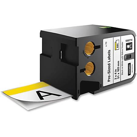 "DYMO® XTL Pre-Sized Safety Labels, DYM1868714, Permanent Adhesive, 4 1/64""W x 2 1/64""L, Rectangle, Vinyl, Thermal Transfer, White/Yellow"