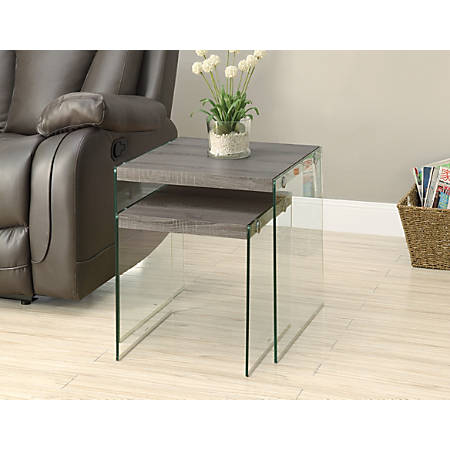 Monarch Specialties 2-Piece Nesting Table Set With Glass Base, Square, Dark Taupe