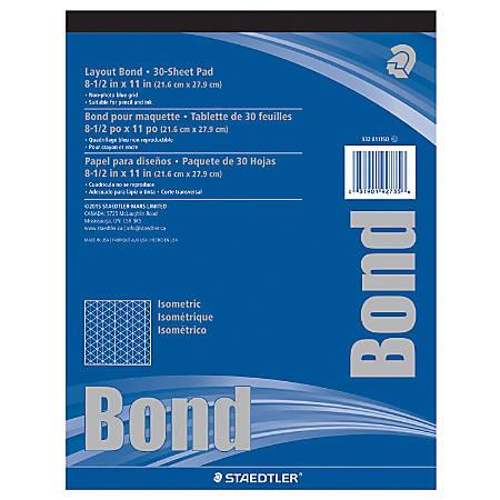 "Staedtler® Isometric Bond Paper, 8 1/2"" x 11"", Grid, 30 Sheets, White"
