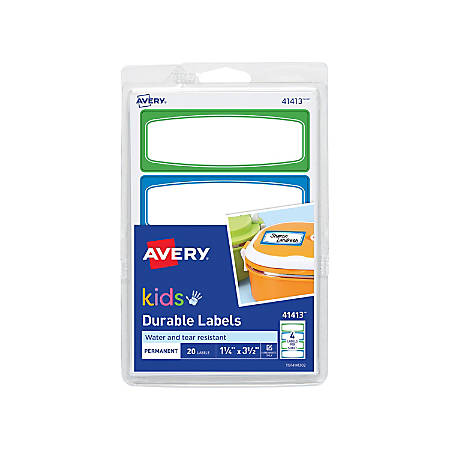 "Avery® Permanent Waterproof Labels For Kid's Gear, 41413, 3 1/2"" x 1 1/4"", White, Pack Of 20"